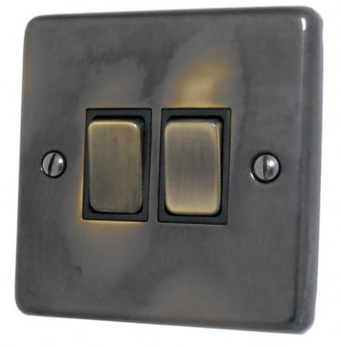 G&H CAN302 Standard Plate Polished Aged Brass 2 Gang 1 or 2 Way Rocker Light Switch